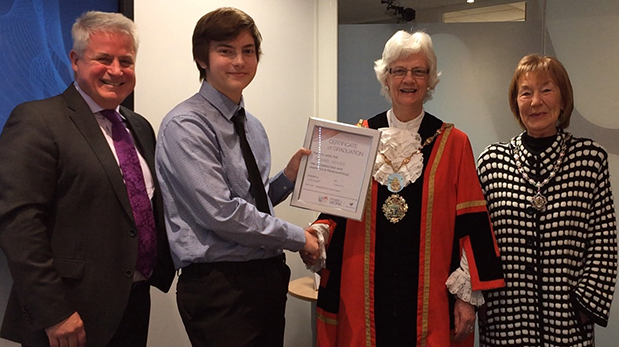 ManpowerGroup UK Managing Director Mark Cahill and the Mayor and Mayoress of Hillingdon congratulate Michael Wood on completing the course and being offered a permanent opportunity at ManpowerGroup's UK head office.
